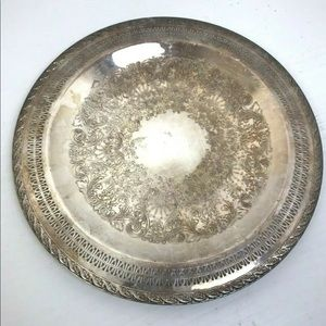 "Other - Vintage Silver Plate Serving Tray 15"" Party"